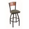 "830 Voltaire 30"" Bar Stool with Black Wrinkle Finish, Axis Grove Seat, Medium Oak Back, and 360 swivel"