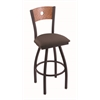 "830 Voltaire 30"" Bar Stool with Black Wrinkle Finish, Axis Truffle Seat, Medium Oak Back, and 360 swivel"
