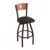 "830 Voltaire 36"" Bar Stool with Black Wrinkle Finish, Black Vinyl Seat, Medium Oak Back, and 360 swivel"
