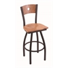 "830 Voltaire 36"" Bar Stool with Black Wrinkle Finish, Medium Oak Seat, Medium Oak Back, and 360 swivel"