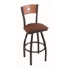 "830 Voltaire 30"" Bar Stool with Black Wrinkle Finish, Rein Adobe Seat, Medium Oak Back, and 360 swivel"