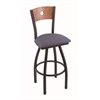 "830 Voltaire 25"" Counter Stool with Black Wrinkle Finish, Rein Bay Seat, Medium Oak Back, and 360 swivel"
