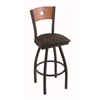 "830 Voltaire 30"" Bar Stool with Black Wrinkle Finish, Rein Coffee Seat, Medium Oak Back, and 360 swivel"