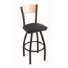 "830 Voltaire 36"" Bar Stool with Black Wrinkle Finish, Allante Dark Blue Seat, Natural Maple Back, and 360 swivel"