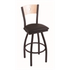 "830 Voltaire 30"" Bar Stool with Black Wrinkle Finish, Allante Espresso Seat, Natural Maple Back, and 360 swivel"