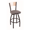 "830 Voltaire 30"" Bar Stool with Black Wrinkle Finish, Allante Medium Grey Seat, Natural Maple Back, and 360 swivel"