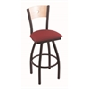"830 Voltaire 36"" Bar Stool with Black Wrinkle Finish, Allante Wine Seat, Natural Maple Back, and 360 swivel"
