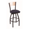 "830 Voltaire 30"" Bar Stool with Black Wrinkle Finish, Axis Denim Seat, Natural Maple Back, and 360 swivel"