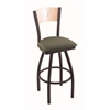 "830 Voltaire 30"" Bar Stool with Black Wrinkle Finish, Axis Grove Seat, Natural Maple Back, and 360 swivel"