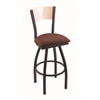 "830 Voltaire 25"" Counter Stool with Black Wrinkle Finish, Axis Paprika Seat, Natural Maple Back, and 360 swivel"