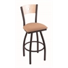 "830 Voltaire 30"" Bar Stool with Black Wrinkle Finish, Axis Summer Seat, Natural Maple Back, and 360 swivel"