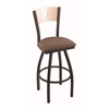 "830 Voltaire 36"" Bar Stool with Black Wrinkle Finish, Axis Willow Seat, Natural Maple Back, and 360 swivel"