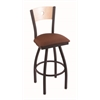 "830 Voltaire 30"" Bar Stool with Black Wrinkle Finish, Rein Adobe Seat, Natural Maple Back, and 360 swivel"