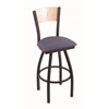 "830 Voltaire 30"" Bar Stool with Black Wrinkle Finish, Rein Bay Seat, Natural Maple Back, and 360 swivel"