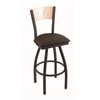 "830 Voltaire 30"" Bar Stool with Black Wrinkle Finish, Rein Coffee Seat, Natural Maple Back, and 360 swivel"