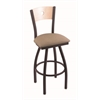 "830 Voltaire 30"" Bar Stool with Black Wrinkle Finish, Rein Thatch Seat, Natural Maple Back, and 360 swivel"