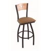"830 Voltaire 30"" Bar Stool with Black Wrinkle Finish, Allante Beechwood Seat, Natural Oak Back, and 360 swivel"
