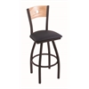 "830 Voltaire 30"" Bar Stool with Black Wrinkle Finish, Allante Dark Blue Seat, Natural Oak Back, and 360 swivel"