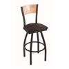 "830 Voltaire 30"" Bar Stool with Black Wrinkle Finish, Allante Espresso Seat, Natural Oak Back, and 360 swivel"