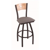 "830 Voltaire 30"" Bar Stool with Black Wrinkle Finish, Allante Medium Grey Seat, Natural Oak Back, and 360 swivel"