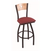 "830 Voltaire 36"" Bar Stool with Black Wrinkle Finish, Allante Wine Seat, Natural Oak Back, and 360 swivel"