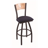 "830 Voltaire 30"" Bar Stool with Black Wrinkle Finish, Axis Denim Seat, Natural Oak Back, and 360 swivel"