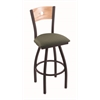 "830 Voltaire 30"" Bar Stool with Black Wrinkle Finish, Axis Grove Seat, Natural Oak Back, and 360 swivel"
