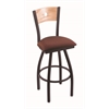 "830 Voltaire 30"" Bar Stool with Black Wrinkle Finish, Axis Paprika Seat, Natural Oak Back, and 360 swivel"