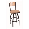"830 Voltaire 36"" Bar Stool with Black Wrinkle Finish, Axis Summer Seat, Natural Oak Back, and 360 swivel"