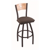 "830 Voltaire 30"" Bar Stool with Black Wrinkle Finish, Axis Truffle Seat, Natural Oak Back, and 360 swivel"