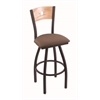 "830 Voltaire 36"" Bar Stool with Black Wrinkle Finish, Axis Willow Seat, Natural Oak Back, and 360 swivel"