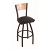 "830 Voltaire 30"" Bar Stool with Black Wrinkle Finish, Black Vinyl Seat, Natural Oak Back, and 360 swivel"