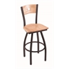 "830 Voltaire 36"" Bar Stool with Black Wrinkle Finish, Natural Oak Seat, Natural Oak Back, and 360 swivel"