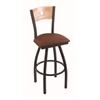 "830 Voltaire 30"" Bar Stool with Black Wrinkle Finish, Rein Adobe Seat, Natural Oak Back, and 360 swivel"