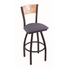 "830 Voltaire 30"" Bar Stool with Black Wrinkle Finish, Rein Bay Seat, Natural Oak Back, and 360 swivel"