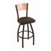 "830 Voltaire 30"" Bar Stool with Black Wrinkle Finish, Rein Coffee Seat, Natural Oak Back, and 360 swivel"