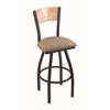 "Holland Bar Stool Co. 830 Voltaire 30"" Bar Stool with Black Wrinkle Finish, Rein Thatch Seat, Natural Oak Back, and 360 swivel"