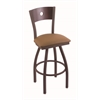 "830 Voltaire 30"" Bar Stool with Bronze Finish, Allante Beechwood Seat, Dark Cherry Maple Back, and 360 swivel"