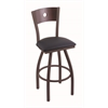 "830 Voltaire 36"" Bar Stool with Bronze Finish, Allante Dark Blue Seat, Dark Cherry Maple Back, and 360 swivel"