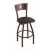 "830 Voltaire 25"" Counter Stool with Bronze Finish, Allante Espresso Seat, Dark Cherry Maple Back, and 360 swivel"