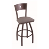 "830 Voltaire 36"" Bar Stool with Bronze Finish, Allante Dark Cherry Grey Seat, Dark Cherry Maple Back, and 360 swivel"