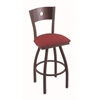 "830 Voltaire 30"" Bar Stool with Bronze Finish, Allante Wine Seat, Dark Cherry Maple Back, and 360 swivel"