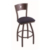"830 Voltaire 30"" Bar Stool with Bronze Finish, Axis Denim Seat, Dark Cherry Maple Back, and 360 swivel"