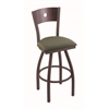"830 Voltaire 30"" Bar Stool with Bronze Finish, Axis Grove Seat, Dark Cherry Maple Back, and 360 swivel"