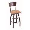 "830 Voltaire 30"" Bar Stool with Bronze Finish, Axis Summer Seat, Dark Cherry Maple Back, and 360 swivel"