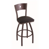 "830 Voltaire 36"" Bar Stool with Bronze Finish, Black Vinyl Seat, Dark Cherry Maple Back, and 360 swivel"