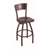 "830 Voltaire 30"" Bar Stool with Bronze Finish, Dark Cherry Maple Seat, Dark Cherry Maple Back, and 360 swivel"