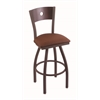 "830 Voltaire 30"" Bar Stool with Bronze Finish, Rein Adobe Seat, Dark Cherry Maple Back, and 360 swivel"
