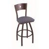 "830 Voltaire 36"" Bar Stool with Bronze Finish, Rein Bay Seat, Dark Cherry Maple Back, and 360 swivel"