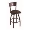 "830 Voltaire 36"" Bar Stool with Bronze Finish, Rein Coffee Seat, Dark Cherry Maple Back, and 360 swivel"